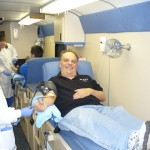 WKVI's Tom Berg was one of the first to donate blood today!