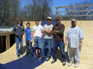 A crew works on the skate park at Wythogan Park in Knox