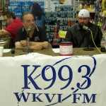 Tom Berg and Nathan Welter discuss the food drive on the air.