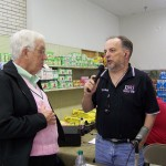 Ed Hasnerl stopped by to talk to Tom Berg during the food drive