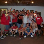 The Knox Redskins senior football team even came to the studio to urge Tom on!
