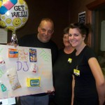 Two Dollar General employees presented Tom with some necessities for his recovery.