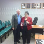 SCEDF Board President Bill Sonnemaker presented Linda Berndt with a plaque for her years of service to the board.