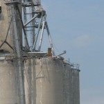 An explosion destroyed the upper half of this grain elevator.