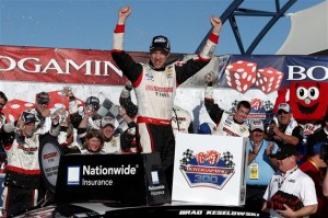 Brad Keselowski, driver of the #22 Discount Tire Ford, celebrates in Victory Lane after winning the NASCAR Nationwide Series Boyd Gaming 300 at Las Vegas Motor Speedway on March 8, 2014 in Las Vegas, Nevada. Photo Via Getty Images