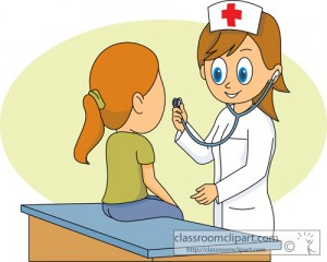 nurse using a stethoscope with patient