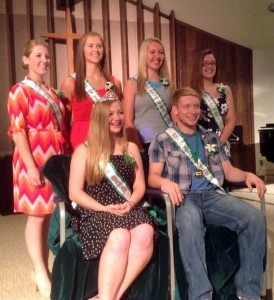 2015 Pulaski County 4-H Achievement Royalty: Queen Madison Ruff and King Caleb Bucinski.  4-H Court is  Regan Culp, Donna Zehner, Peyton Newman and Brittany Fox