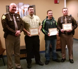 Sheriff Jeff Richwine, Sgt. Stephen Tabler, Communications Officer Tanner Prentice, and Cl. Travis Clark