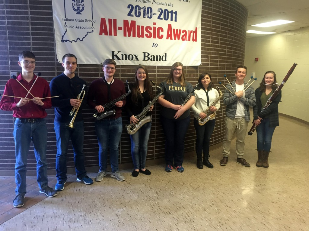 Knox High School 2016 ISSMA solo and ensemble state qualifiers Colin Kulpa, Cody Himes, Josh Enger, Elizabeth Stacy, Abigail Belcher, Claribel Rodriguez, Corey Hackler and Sarah Chaffins.