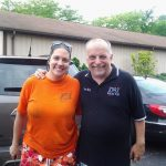 Mary Perren and Tom Berg post cold water challenge in the WKVI parking lot